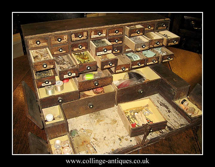 ... Tubes Etc Inside Used In The Mysterious Art Of Fly Tying. The Cabinet  Is Sold Complete With Its Contents; Feathers, Fur, Threads, Tubes, Hooks,  Lures, ...