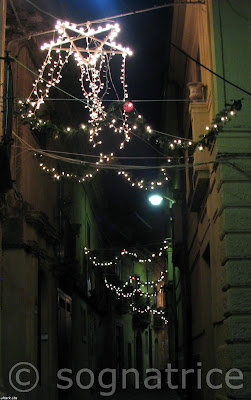 Christmas lights on Corso Umberto I, Badolato, Calabria, Italy