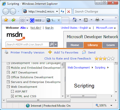 IE7 rendering the MSDN Scripting page