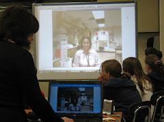 Mrs. Kopecki & Ms. Avery videoconferencing with students