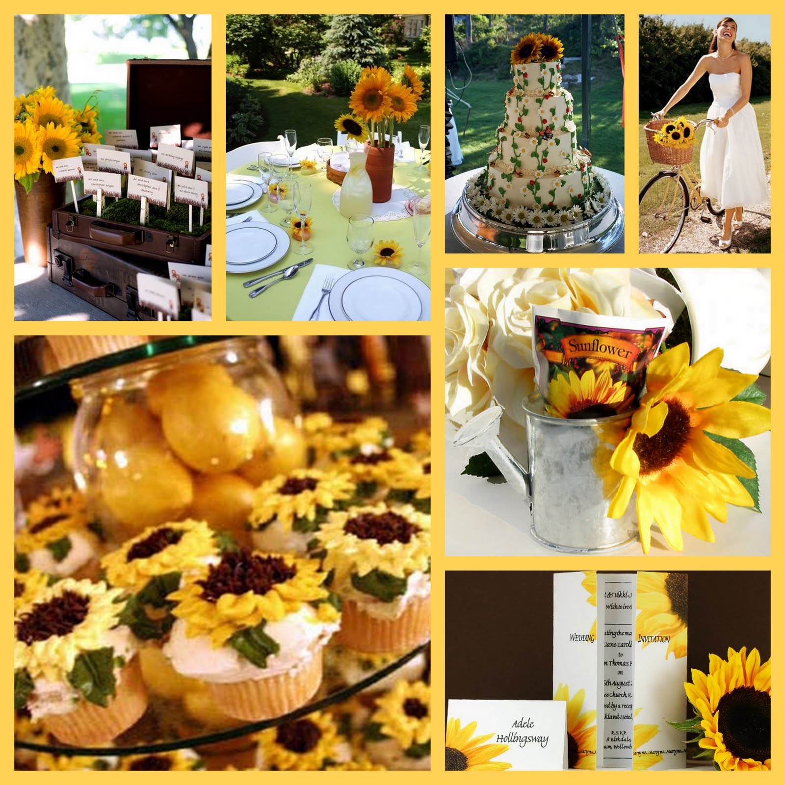 Sunflower Themed Wedding Cake Ideas and Designs