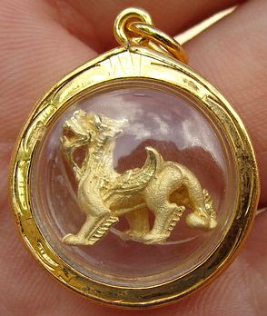 Wat Tum Sua's Chinese Dragon gold good luck dragon amulet