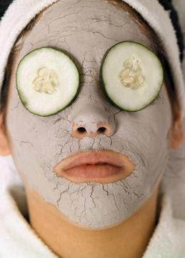 eyes covered with cucumber