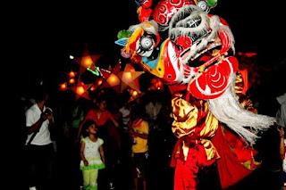 Lion dances in mid autumn festival night