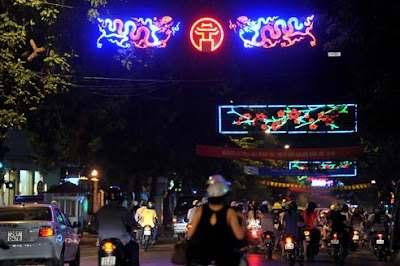 Streets in Hanoi photo before great festival