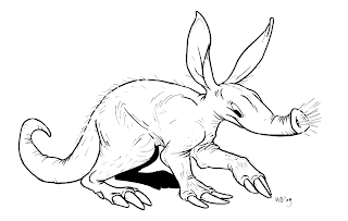 Cartoon drawing aardvark