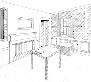 ... Four Perspective Drawings Are Based Off Of Four Pictures That I Found  In Magazines. The First Picture Is A 2 Point Perspective Of A Living Room /library. Part 67