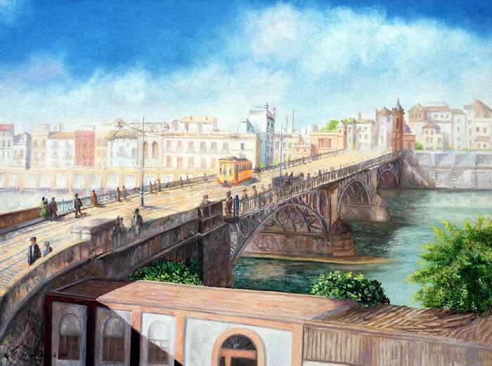 LA SEVILLA DE AYER. Tranvía por el puente de Triana a principios del s. XX