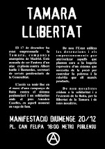 LLIBERTAT TAMARA. MANFIESTACI EL 20 DE DESEMBRE A BARCELONA.