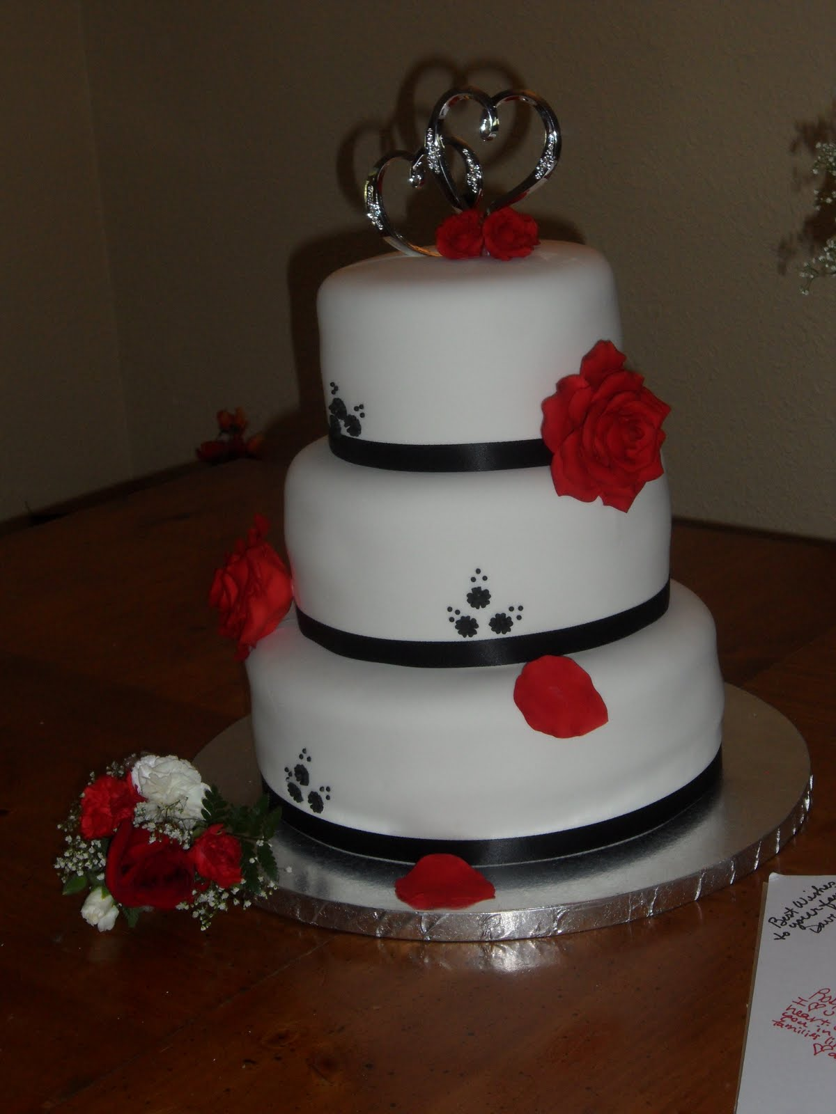 Sugar Pants Cake Blog White Black and Red Wedding Cake