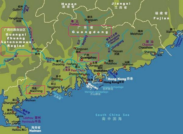 Guangdong China Map (courtesy of Joho Maps)