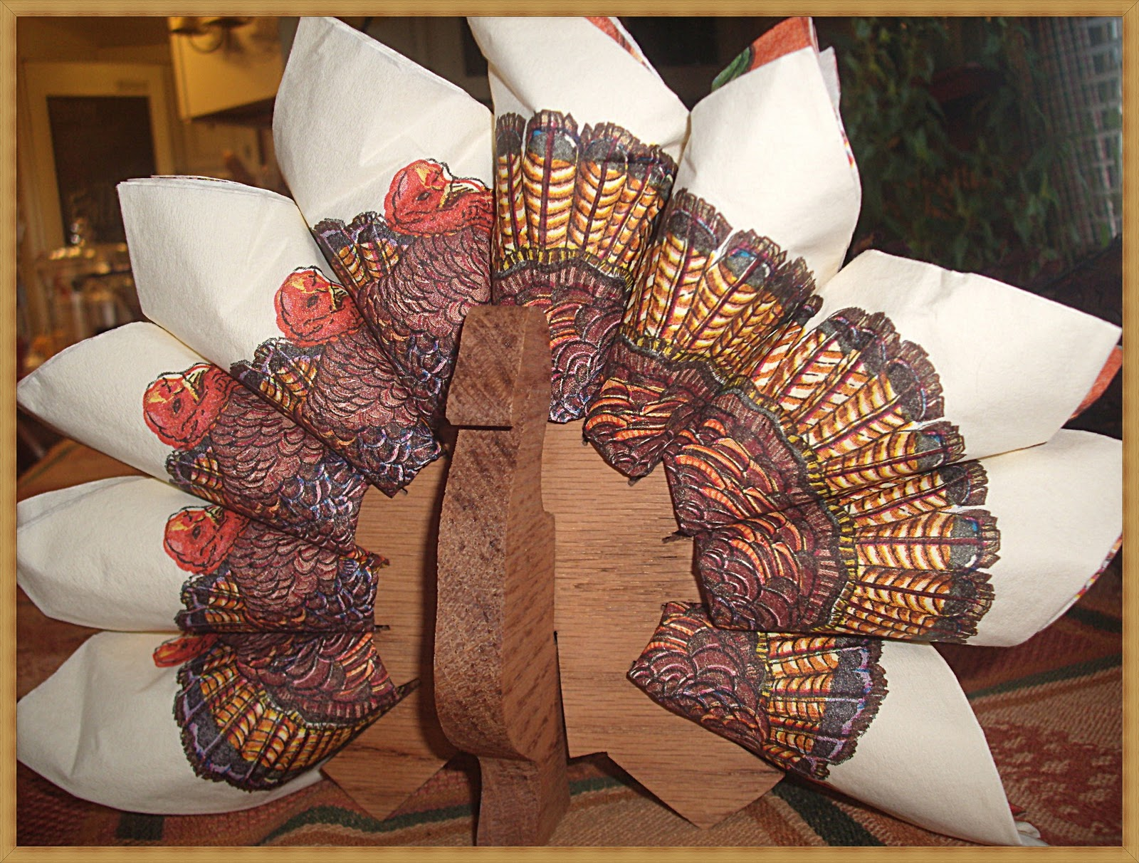 Turkey napkin holder a southern belle with northern for Turkey napkins