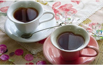 tazas para te o cafe en forma de corazon