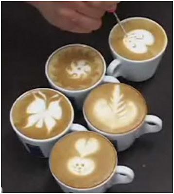decorar el cafe y el cafe con leche con dibujos