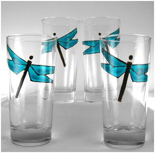 vasos decorados con libelulas