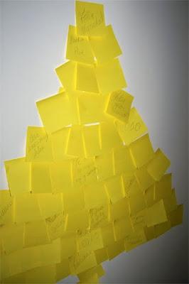 el arbol de navidad para deseos hecho con posits