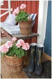 decoracion con botas de agua