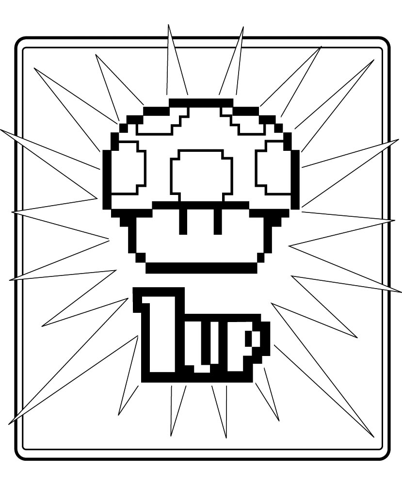 jimbo\'s Coloring Pages: 8 bit 1-UP mushroom