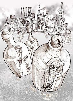 Botellas boyando sobre mares de niebla
