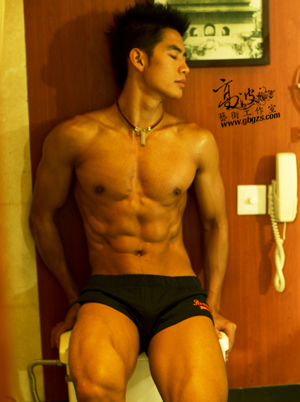 Asian Guys Lovers: Sexy Asian guy in restroom