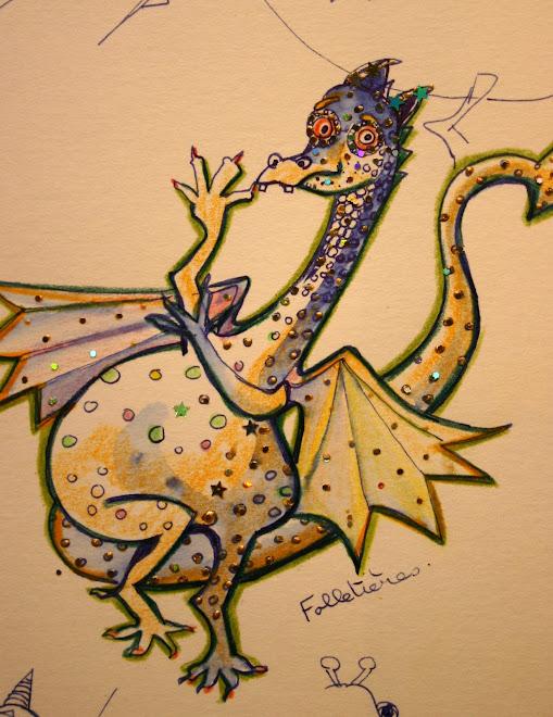 """""""Folletieres"""", petit dragon toujours en retard et très distrait!"""