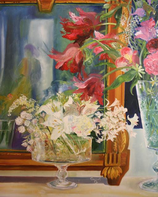 """Tulipes """"perroquets"""" et miroir ancien .Huile sur toile (100 X 81)"""
