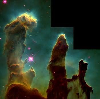Coloane de gaz în nebuloasa M16 (Vulturul)