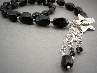 custom beaded lariat necklace in vintage black czech glass