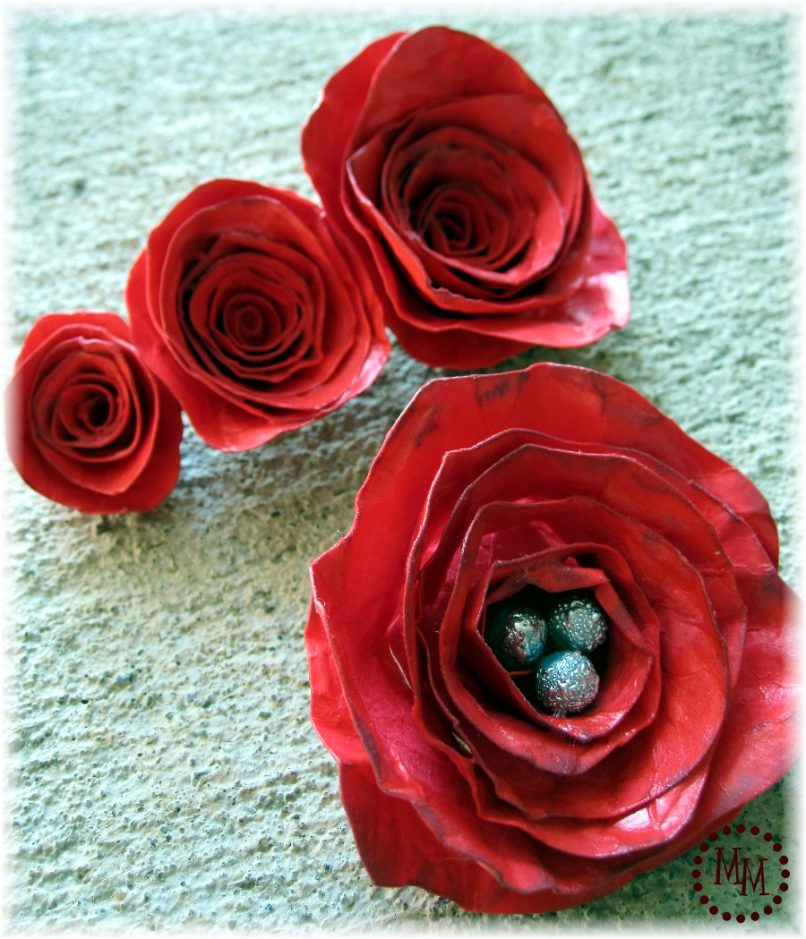 Ceramic Paper Roses The Scrap Shoppe