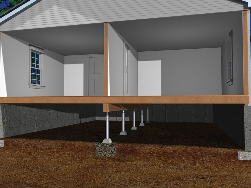 basement systems sagging beams or floor joists in a crawl space