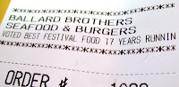 Receipt says 'Voted best festival food 17 years runnin'