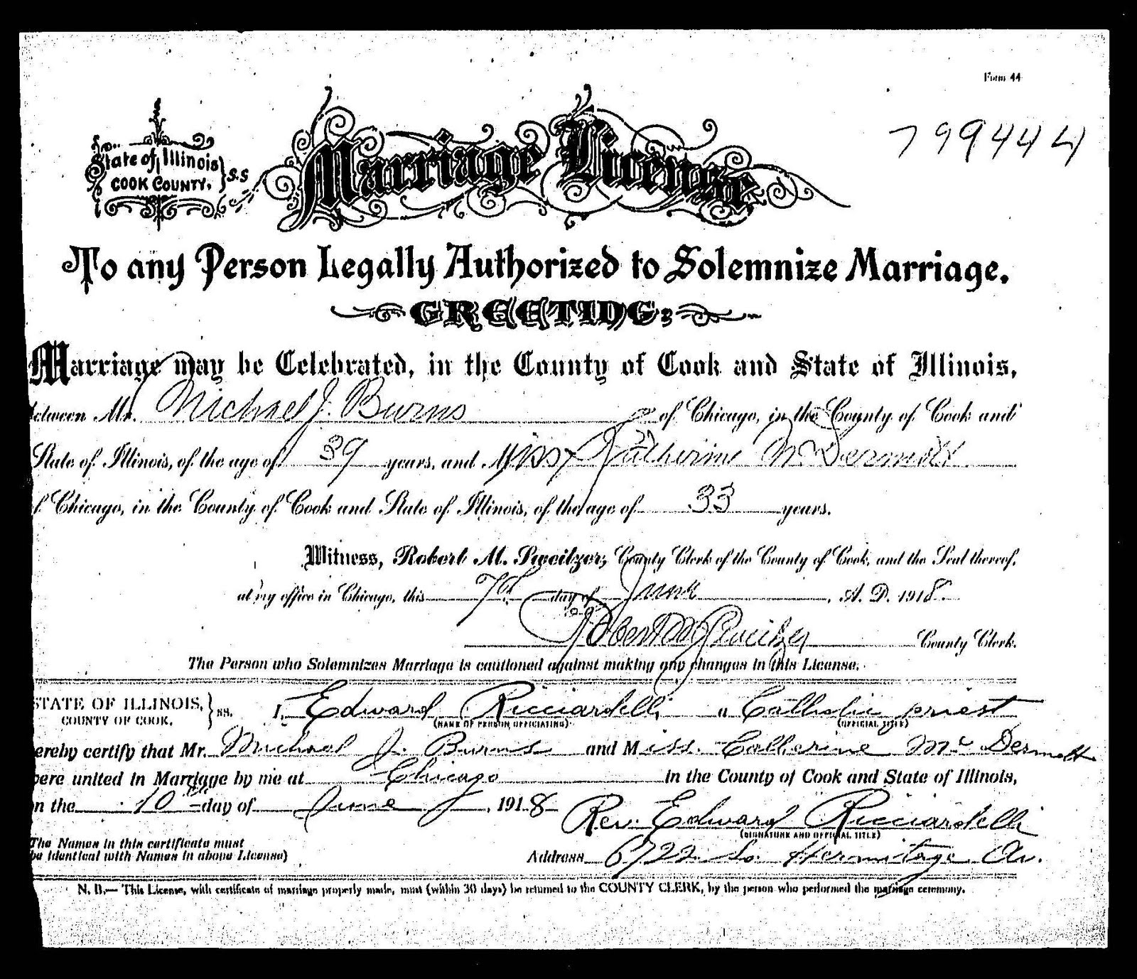 marriage certificate county cook catherine michael mcdermott illinois burns mary fourth daughter second child