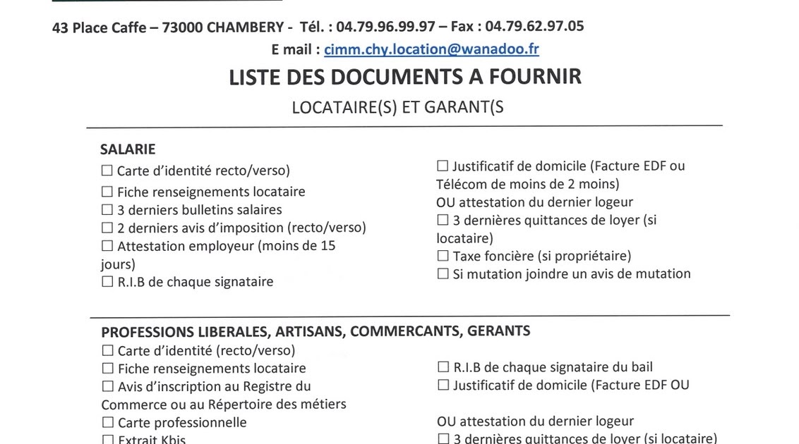 Agence cimm immobilier chambery liste des pi ces for Agence pour location