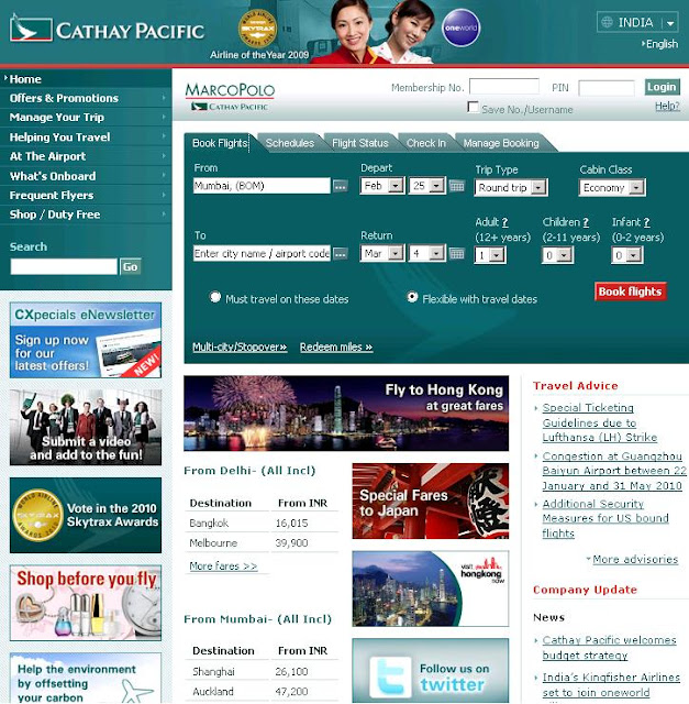 Www.Cathaypacific.com - Online Flight Booking - Cathay Pacific Flight Status