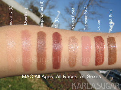 MAC, All Ages, All Races, All Sexes, swatches, Equality, Myself, Empowered, 5N, Naked Frost, Glamour for All, Liqueur, Spirit & Soul
