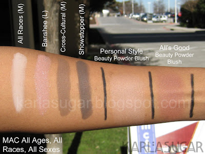 MAC, All Ages, All Races, All Sexes, swatches, NC44, Banshee, Cross-Cultural, Cross Cultural, Showstopper, Personal Style, All's Good