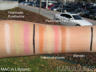 MAC, Lillyland, swatches, Pearlmatte, face, powder, eyeshadow