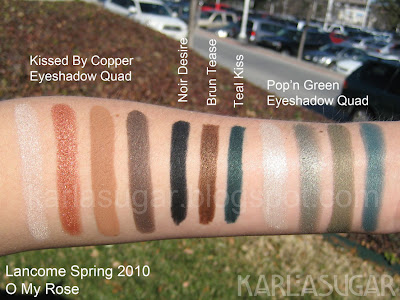 Lancome, spring 2010, O My Rose, swatches, Kissed By Copper, Pop'n Green, Noir Desire, Brun Tease, Teal Kiss
