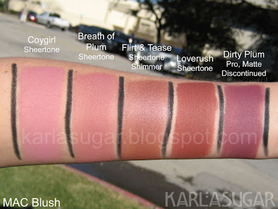 MAC, blush, swatches, Coygirl, Breath of Plum, Flirt and Tease, Loverush, Dirty Plum