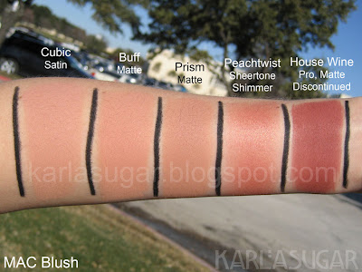 MAC, blush, swatches, Cubic, Buff, Prism, Peachtwist, House Wine