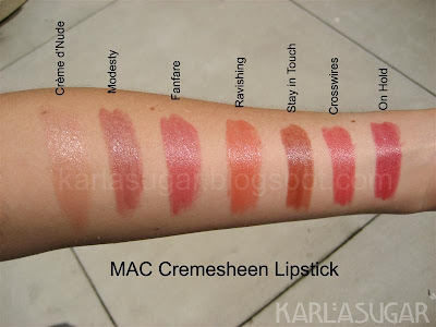 MAC, lipstick, Cremesheen, swatches, Creme d'Nude, Modesty, Fanfare, Ravishing, Stay in Touch, Crosswires, On Hold