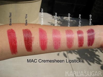 MAC, lipstick, Cremesheen, swatches, Brave Red, Dare You, Speak Louder, Speed Dial, Hot Gossip, Party Line, Hang-up