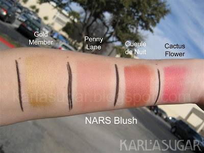 NARS, blush, cream blush, swatches, Gold Member, Penny Lane, Gueule de Nuit, Cactus Flower