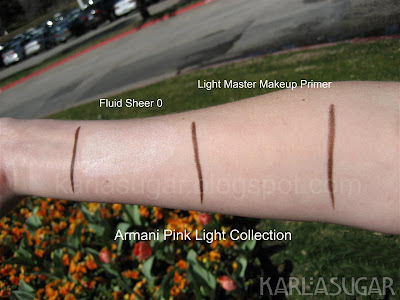 Armani, spring 2009, Pink Light, swatches, Light Master Fluid Makeup Primer, Fluid Sheer 8