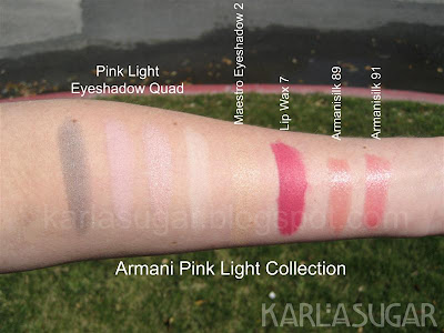 Armani, spring 2009, Pink Light, Maestro Eyeshadow Quad, swatches, Maestro Eyeshadow 2, Lip Wax 7, Armanisilk 89, Armanisilk 91