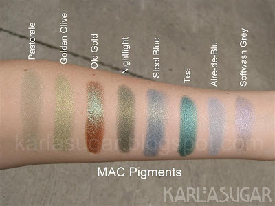MAC, pigment, swatches, Pastorale, Golden Olive, Old Gold, Nightlight, Steel Blue, Teal, Aire-de-Blu, Softwash Grey