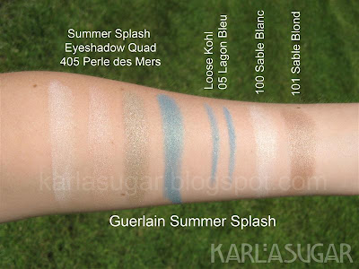Guerlain, swatches, eyeshadow, quad, palette, Summer Splash, Perle des Mers, loose kohl, Lagon Bleu, Lagoon Blue, Sable Blanc, Sable Blond