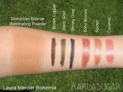 Laura Mercier, Bohemia, swatches, bronzer, Moroccan Bronze, Illuminating Powder, kohls, Brown Copper, Black Gold, Stormy Grey, Stormy Gray, Boho Bronze, Spiced, Caramel, lipstick