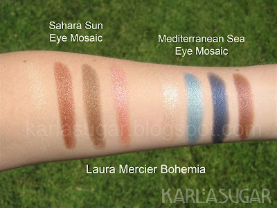 Laura Mercier, Bohemia, swatches, eyeshadow, eye mosaics, Sahara Sun, Mediterranean Sea
