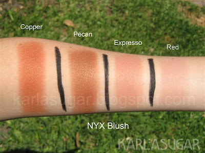 NYX, blush, swatches, Copper, Pecan, Expresso, Red